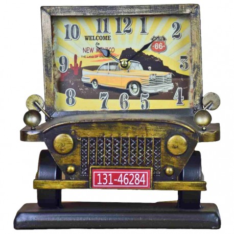 RELOJ DECORATIVO AUTOMÓVIL ANTIGUO - AMARILLO