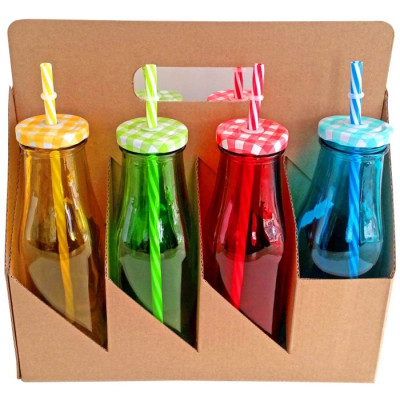 SET 8 BOTELLAS DE CRISTAL COLORES 450ML