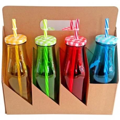 set botellas de cristal colores ml