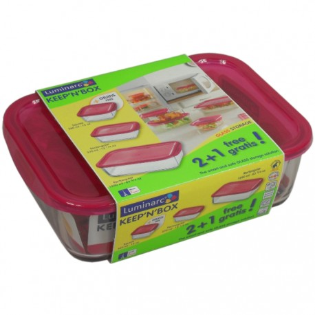 SET 3 RECIPIENTES KEEPN BOX RASPBERRY