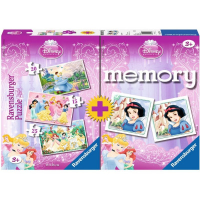PUZZLE 15-20-24 PZAS + MEMORY PRINCESAS DISNEY