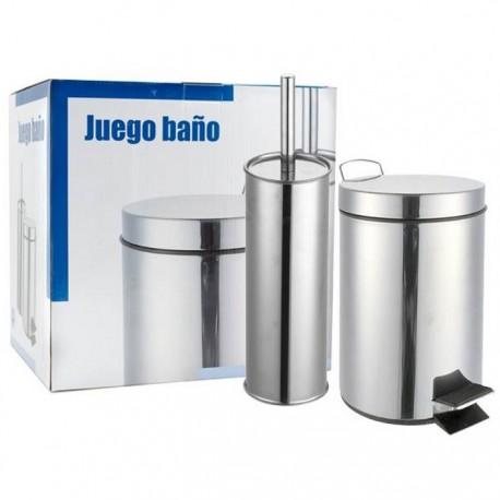JUEGO ESCOBILLERO Y PAPELERA 5L ACERO