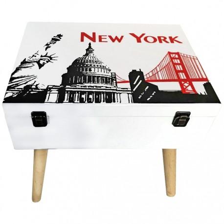 MESITA MALETA DE MADERA 40x30x42CM - NEW YORK de la categoría Sillas y Mueble Auxiliar