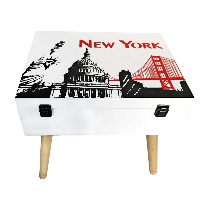 MESITA MALETA DE MADERA 40x30x42CM - NEW YORK