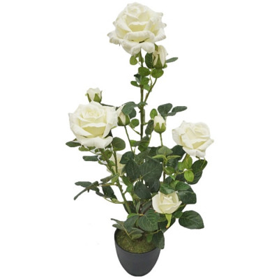 ROSAL ARTIFICIAL EN MACETA 71CM - BLANCO