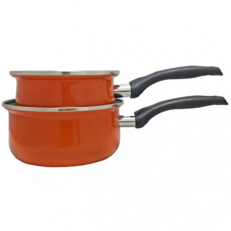 SET DE 2 CAZOS Ø18+20CM ACERO ESMALTADO KRHÜNER - NARANJA de la categoría Para Cocinar Cocción