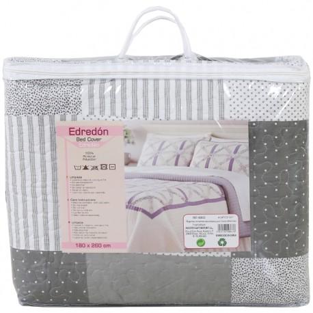 COLCHA ESTAMPADO PATCHWORK 180x260CM - GRIS de la categoría Textil Dormitorio