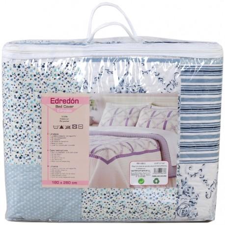 COLCHA ESTAMPADO PATCHWORK 180x260CM - AZUL de la categoría Textil Dormitorio