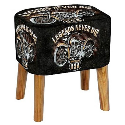 BANQUETA DECORADA POLIPIEL 40x30x41CM - MOTO LEGENDS NEVER DIE
