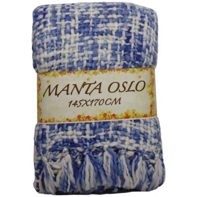 MANTA OSLO 145x170CM CREMA/AZUL