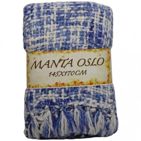 MANTA OSLO 145x170CM CREMA/AZUL de la categoría Decoración Textil