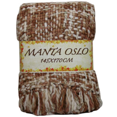 MANTA OSLO 145X170CM CREMA/CHOCO de la categoría Textil Dormitorio