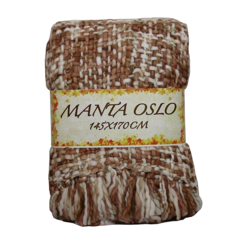 MANTA OSLO 145X170CM CREMA/CHOCO