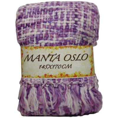 MANTA OSLO 145X170CM CREMA/MORADO