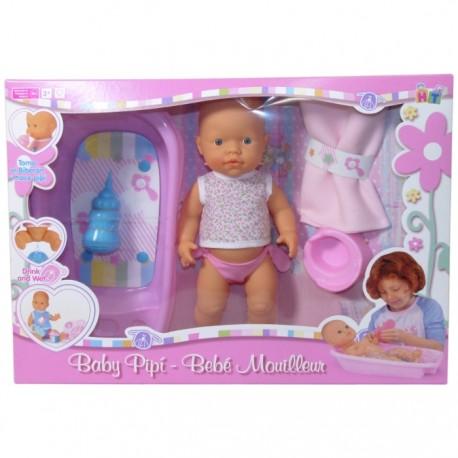 BEBÉ PIPÍ CON BAÑERA ROSA CAMISETA A FLORES de la categoría Muñecas Bebé