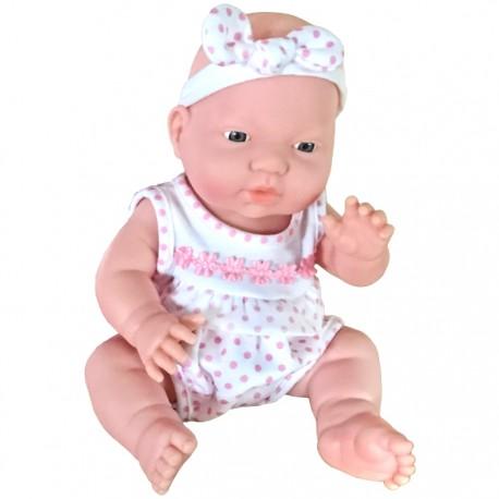 BEBÉ ADORABLE 29CM - PELELE TOPOS ROSA de la categoría Muñecas Bebé