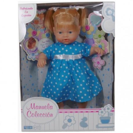 MUÑECA COLECCIÓN MANUELA 40CM - NIÑA AZUL de la categoría Muñecas Bebé