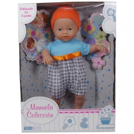 MUÑECO COLECCIÓN MANUELA 40CM - NIÑO CUADRITOS de la categoría Muñecas Bebé