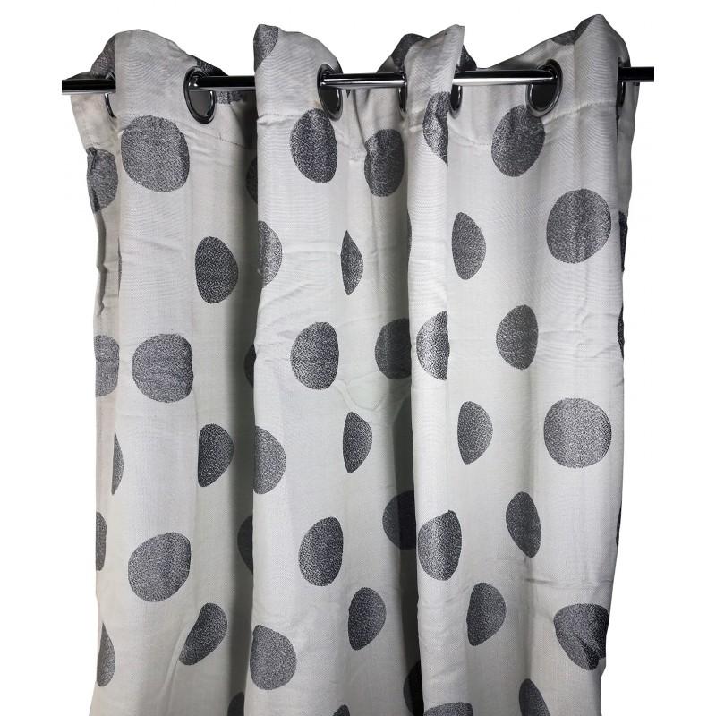 CORTINA 140X260CM GRIS TOPOS NEGROS de la categoría Decoración Textil
