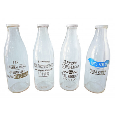 PACK 8 BOTELLAS 1L DECORADO FRASES