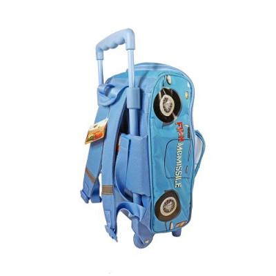 "Mochila carro con ruedas del personaje ""Finn McMissile"" de la película Cars en 3D. Color azul"