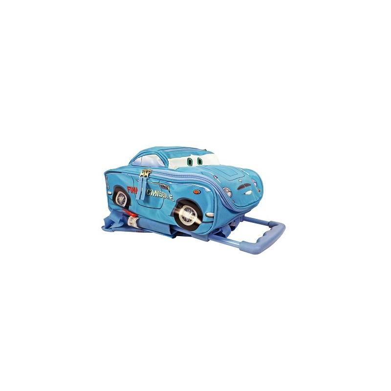 """Mochila carro con ruedas del personaje """"Finn McMissile"""" de la película Cars en 3D. Color azul de la categoría Mochilas y Trolleys"""