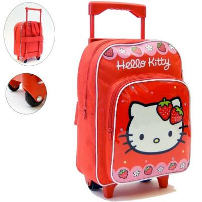 MOCHILA CARRO INFANTIL CON RUEDAS DE HELLO KITTY. CARRO ROJO.MOD 01 FRESAS de la categoría Hello Kitty