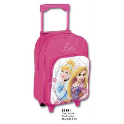 Mochila con ruedas de las Princesas Disney, Rapunzel y la Cenicienta. Mochila escolar. Carro rosa