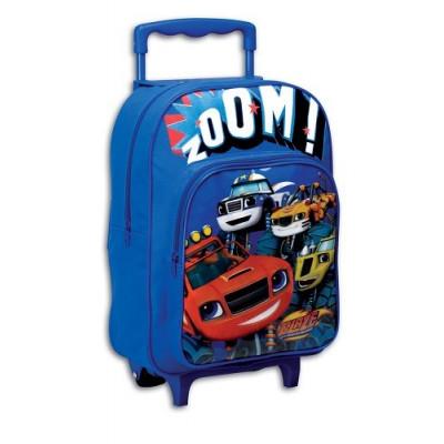 Mochila con ruedas de los coches de carreras y acrobacias Blaze y los Monster Machines. Mochila escolar. Carro azul