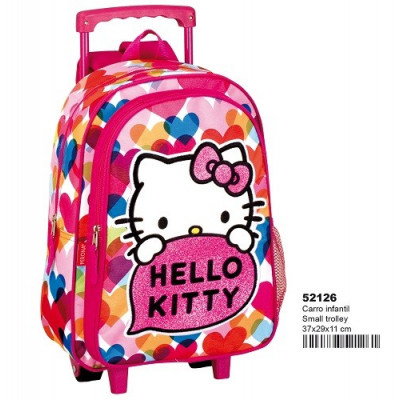 MOCHILA INFANTIL CON RUEDAS DE HELLO KITTY. MOCHILA ESCOLAR. CARRO FUCSIA de la categoría Hello Kitty