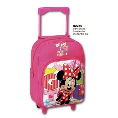 Mochila con ruedas de Minnie Mouse. Mochila escolar. Carro rosa