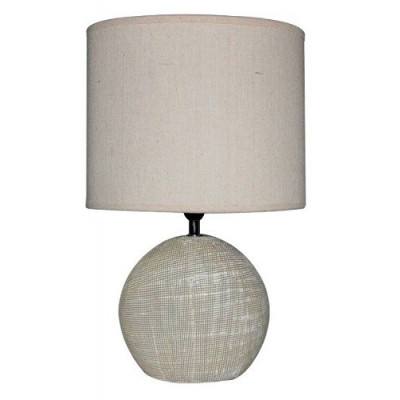 Lámpara de sobremesa de cerámica, con tulipa ovalada. color crudo de la categoría Iluminación