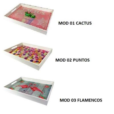 BANDEJA DE MADERA Y CRISTAL. 3 MODELOS DISPONIBLES