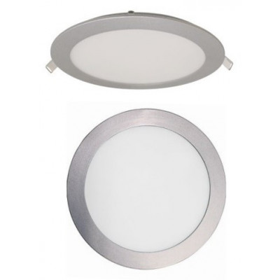 LUZ DOWNLIGHT EXTRAPLANO LED REDONDO 22 W. ARO GRIS BRILLO