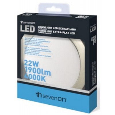 LUZ DOWNLIGHT EXTRAPLANO LED REDONDO 22 W. ARO GRIS BRILLO de la categoría Iluminación