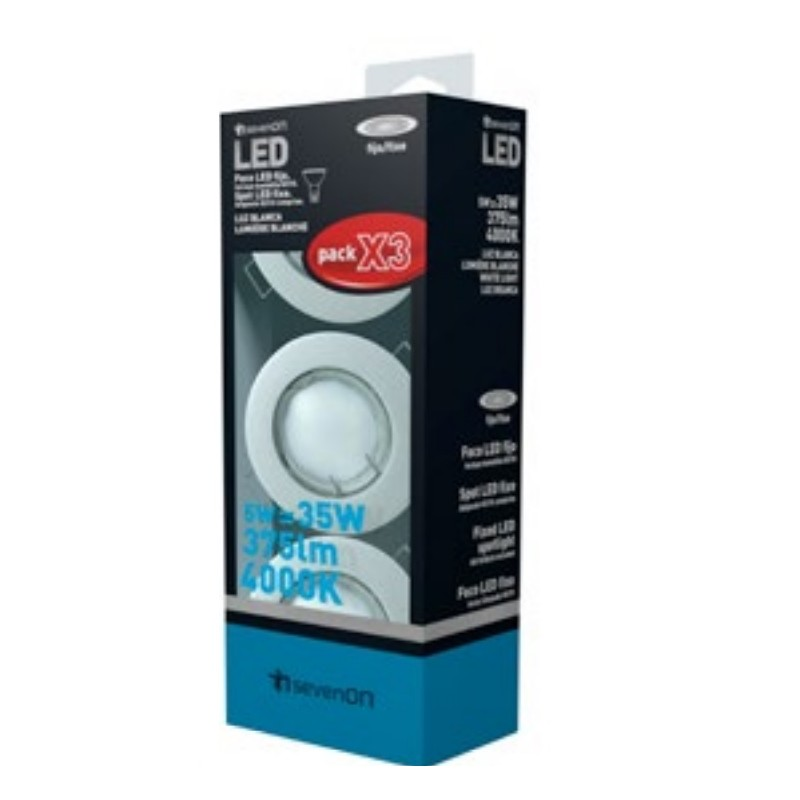 PACK 3 FOCOS LED EMPO. FIJOS RED. ALUM. MATE 5W 375lm GU10 120º 4000K 15000H 7HSEVENON