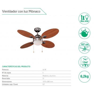 VENTILADOR DE TECHO DE 4 ASPAS MODELO MÓNACO. COLOR MIEL. SEVENON de la categoría Iluminación