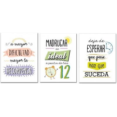SET DE 3 CUADROS FRASES MOTIVADORAS. MOD 04