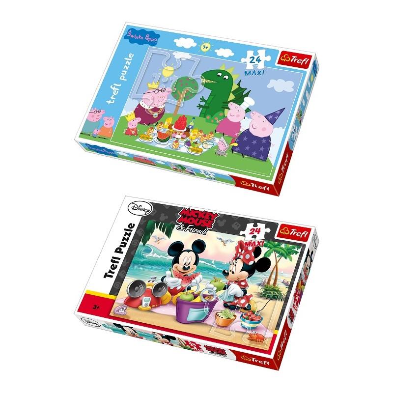 SET PUZLE PEPPA PIG + MICKEY MOUSE DE 24 PIEZAS MAXI de la categoría Puzzles