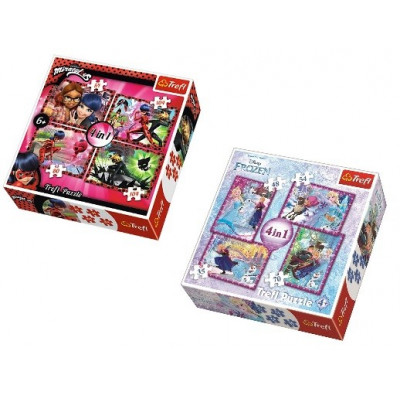 SET PUZLE 4 EN 1 DE FROZEN Y LADY BUG