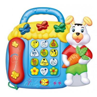 TELEFONO INFANTIL INTERACTIVO CONEJITO COLOR AZUL