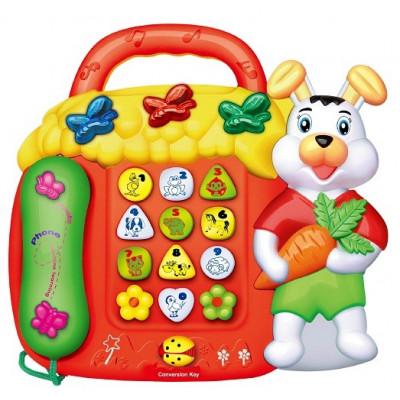 TELEFONO INFANTIL INTERACTIVO CONEJITO COLOR ROJO
