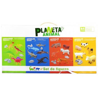 CAJA ANIMALES PLANETA 64 PIEZAS