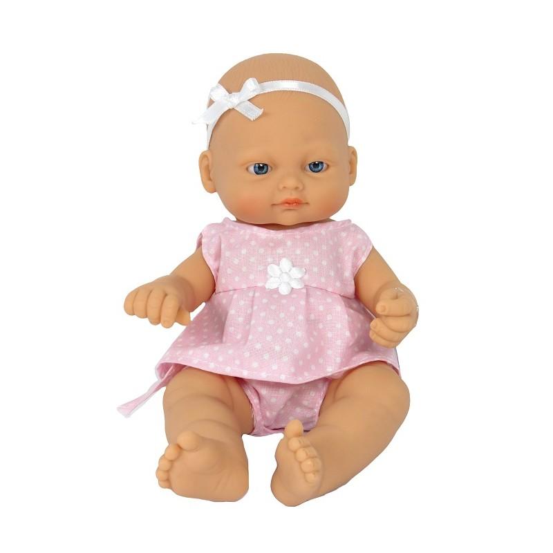 BEBÉ RECIÉN NACIDO DE 25CM CON VESTIDO LUNARES ROSA de la categoría Muñecas Bebé