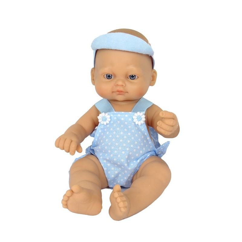 BEBÉ RECIÉN NACIDO DE 25CM CON PETO LUNARES AZUL de la categoría Muñecas Bebé