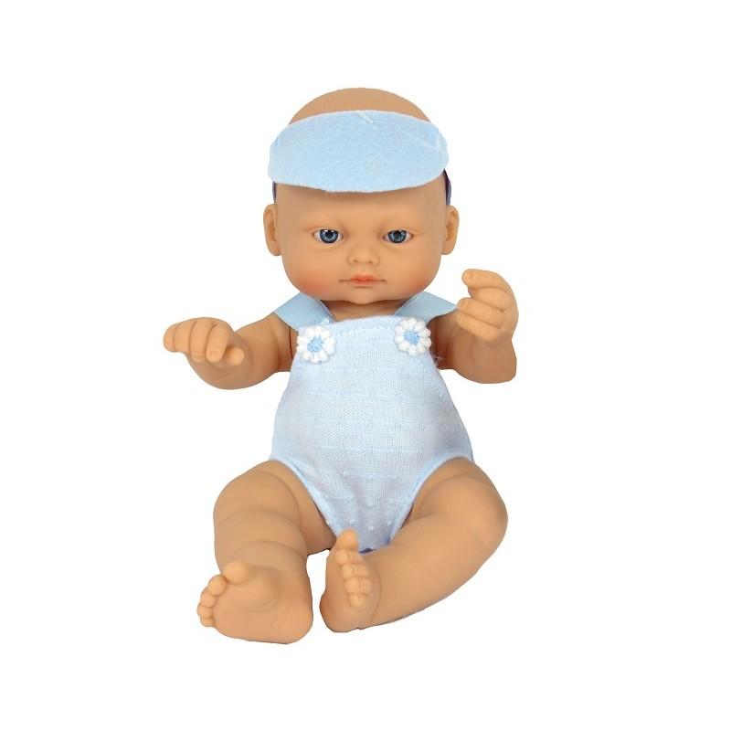 BEBÉ RECIÉN NACIDO DE 25CM CON PETO AZUL de la categoría Muñecas Bebé