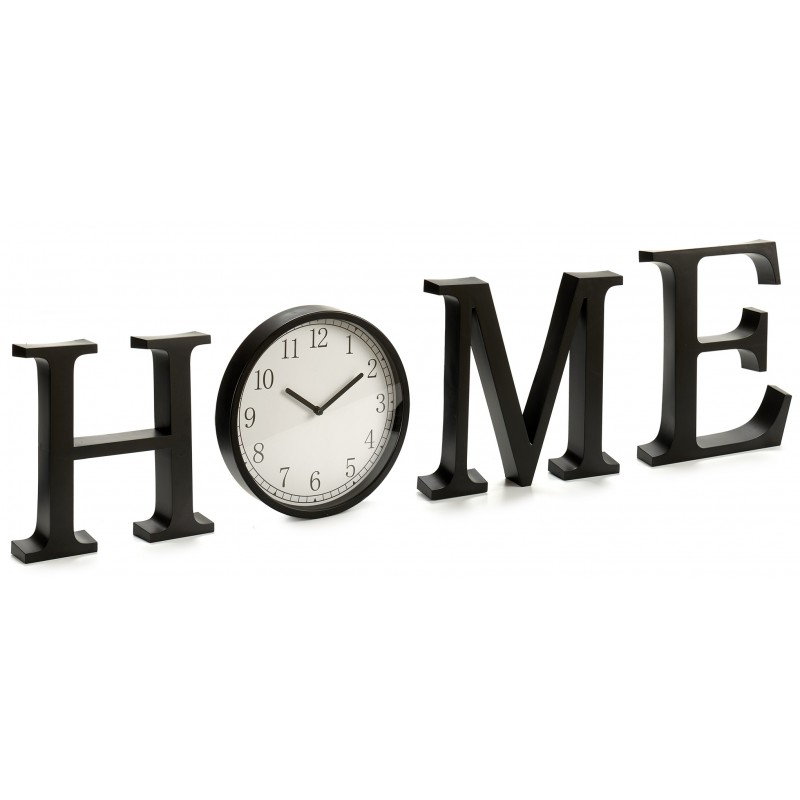 LETRERO HOME CON RELOJ DE PARED NEGRO