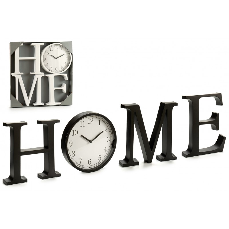 LETRERO HOME CON RELOJ DE PARED BLANCO