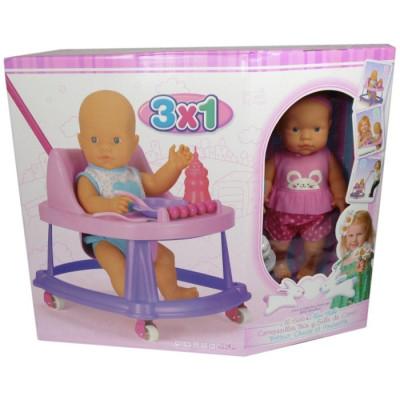 MUÑECO MI BEBÉ CON ANDADOR 3x1 - ROSA de la categoría Muñecas Bebé