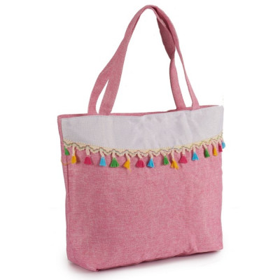 BOLSO BORLAS COLORES PASTEL - ROSA